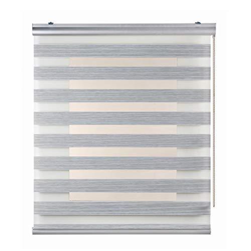 Stores Deco Estor Noche y Día Plus, Estor Enrollable con Doble Tejido para Ventanas y Puertas, Acabados Premium. (80 cm x 250 cm, Textura Gris)