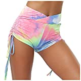 iCJJL Women's Ruched Textured Shorts High Waisted Compression Tummy Control Running Workout Biker Tights Capri Leggings (S, Multicolor)