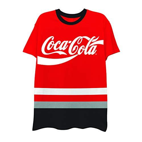 Mens Stripe Coca Cola Shirt - Have a Coke and a Smile Tee - Coke Soda Classic Stripe T-Shirt (Red Multi, X-Large)