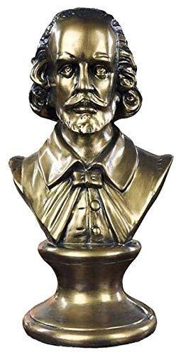 Escultura de escritorio Escultura de busto de Shakespeare Estatua de busto de Shakespeare Decoración del hogar Decoración de escritorio Artesanía Recuerdo Figura de resina Figuras (17 * 13.5 * 31Cm)