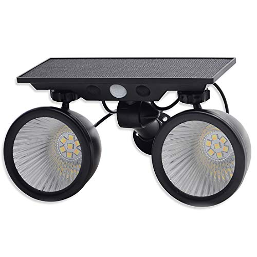 Right Lighting 業界始2020最新型 LED人感センサーライト 1100LM 一台二色切替発光可 ソーラーライト2灯タイプLED屋内外照明 防犯 防水発光角度360°回転可能LEDライト ガーデンライト 警告 防犯ライト 自動点灯 太陽光発電
