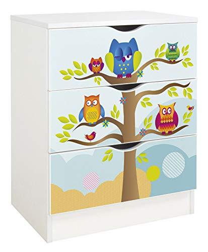 Leomark Weiß Kommode mit 3 Schubladen - Roma - Möbel für Kinderzimmer aus Holz, Skandinavischer Stil, Dim: 60x42x78 (Höhe) cm (Eulen)
