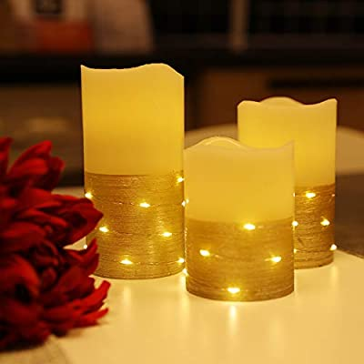 """Flickering LED Candle Set with Daily Timer,Flameless Candles,Embedded String Lights Stay Lit,Golden Stripes Decorative,Real Wax,Battery Powered,Set of 3(H 4""""5""""6"""" x D3"""")"""