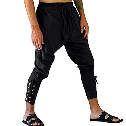 Huntrly Pantalones Casuales con cordón para Hombre, Pantalones de Tubo de Cintura elástica con cordón elástico de algodón, Pantalones de Vendaje Medieval renacentista