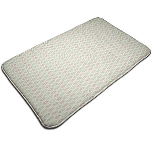 Bath Mat Non Slip,Russian Ukrainian and Scandinavian National Knit Styled Pattern In Pastel Colors,Ultra Absorbent Bathroom Rug