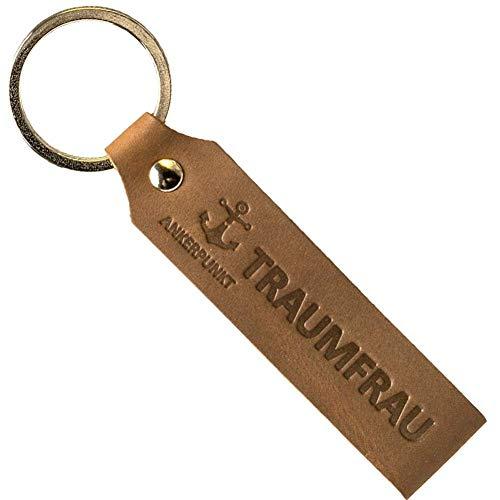 ANKERPUNKT Schlüsselanhänger Leder mit Gravur Traumfrau - Geschenke für Frauen - Geschenkidee zum Geburtstag Jahrestag etc. - Made in Germany (Dunkelbraun) Used Look