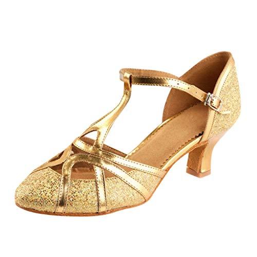 Damen Standard Latein Funkeln Tanzschuhe Frauen Ballsaal Salsa Tango Tanzen Schuhe Hochzeit Abendschuhe Knöchelriemen, Celucke Klassische Pumps Elegante Brautschuhe (Gold, EU39)