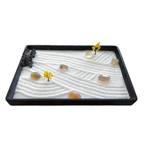 ICNBUYS Mini jardín Zen con Bandeja Gratis, Arena, rastrillo, bolígrafo de Dibujo, bolígrafo de Arena empujando y guía de Dibujo de jardín Zen Dimensiones 7.9 x 5.5 x 0.4 Pulgadas