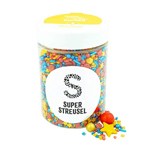 Super Streusel Superheld (90g)   Zuckerstreusel für Kuchen Kekse Torte uvm.   Alle Zutaten aus der EU   Streuselmix aus Hamburg bekannt aus TV & Print   Ohne AZO-Farbstoffe (90g)