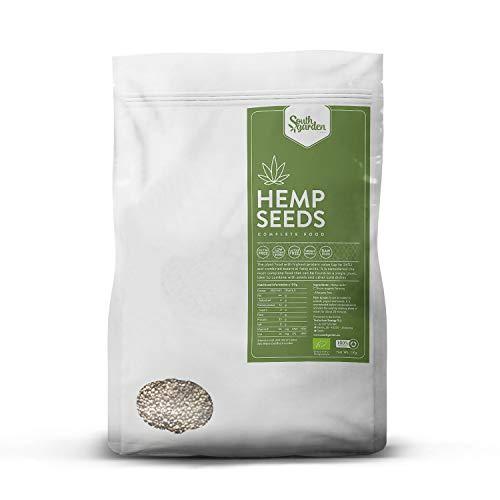 Graines de Chanvre BIO - Hemp Seeds 1 Kg | SOUTH GARDEN | 30% de protéines | Oméga 3, 6 et 9 | Végétalien | Sans gluten | Sans lactose | Sans sucre ajouté | Fabriqué en Espagne