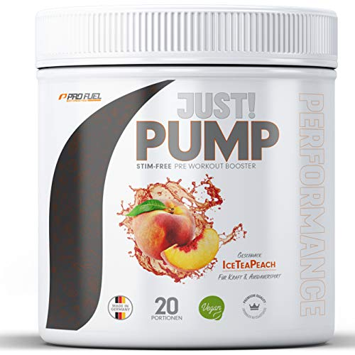 Pump Booster ohne Koffein mit innovativer Formel aus Aminosäuren und Pflanzenextrakten – Pre Workout Booster ICE TEA PEACH