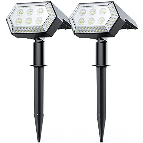 108 LED Super Luminosi Solari Faretto, Più Di 12 Ore di Illuminazione, IP65 Impermeabile Paesaggio Faretto con 4 Modalità di Illuminazione, 2 Modi di Utilizzo Luci LED Solari per Giardino (2pz)