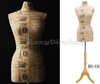 (JF-F6/8W-Paris+BS-01NX) ROXY DISPLAY Female Body Form Size 6/8 Paris texture linen cover W/BS-01 Tripod Wooden Base.