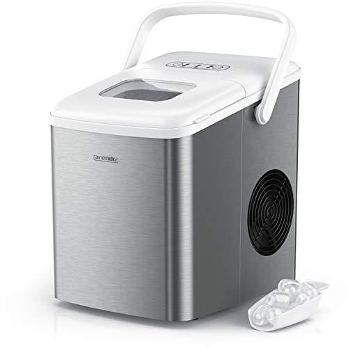 Arendo - Eiswürfelmaschine Edelstahl - 2 Liter - Eiswürfelbereiter - Eismaschine mit Kühlung - Größen small und large - mit Sichtfenster – Status LEDs - inkl. Eiswürfelschaufel - ABS
