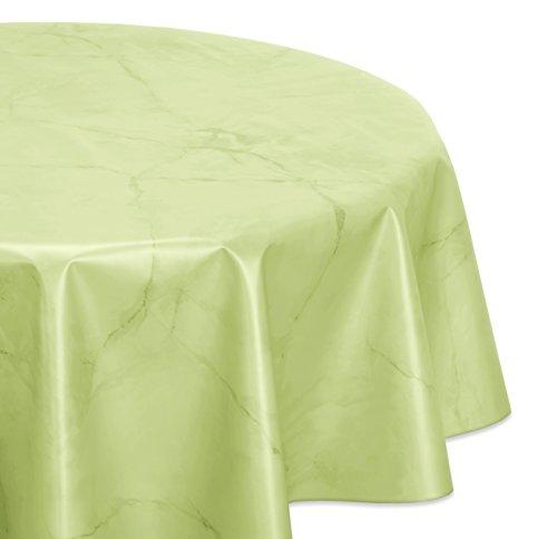 BEAUTEX Wachstuchtischdecke abwischbar, OVAL RUND ECKIG, fleckenabweisende Gartentischdecke Marmorstein, zuschneidbare Wachstuch Tischdecke (Oval 130x170 cm, Apfelgrün)
