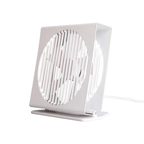 Cooling Side Hollow USB Fan 7 Inch Metal Desktop Mute Thin Mini Fan Office Bedroom Household Table Fan Handheld fan (Color : White)