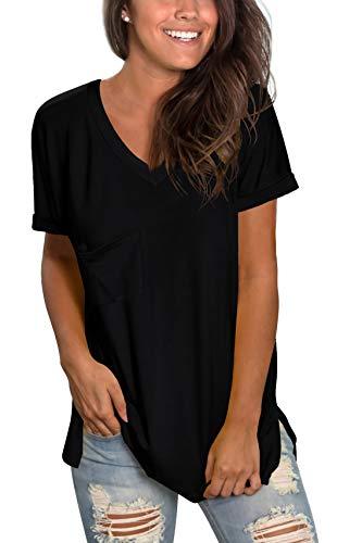 WFTBDREAM Womens Short Sleeve V Neck T-Shirt Summer Casual Flowy Tops Black Comfy Outfits M