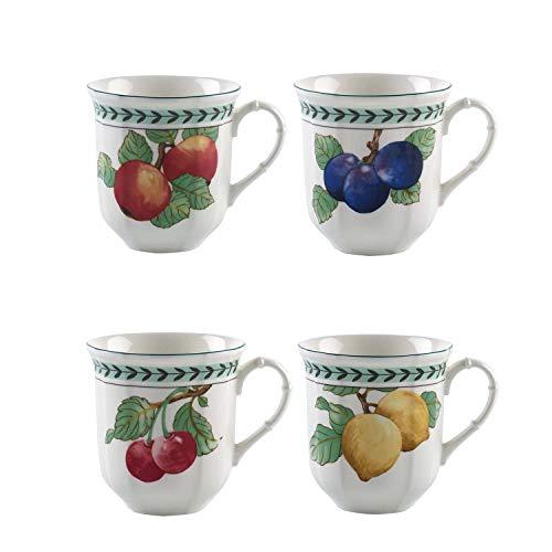 Villeroy & Boch French Garden Modern Fruits Jumbo Becher 4-teilig, 480 ml, Premium Porzellan, Weiß/Bunt