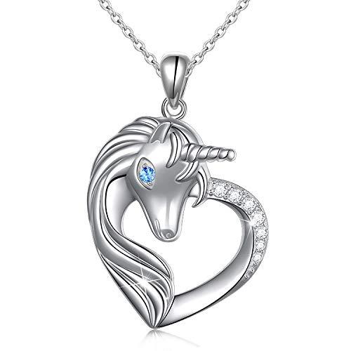 Sterling Silver Unicorn in Heart Necklace for Women Teen Girl Gift