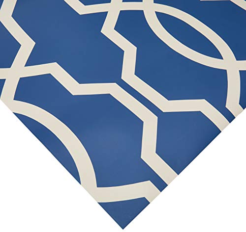 York Wallcoverings GE3668 Ashford Geometrics Hourglass Trellis Wallpaper, Dark Blue/White