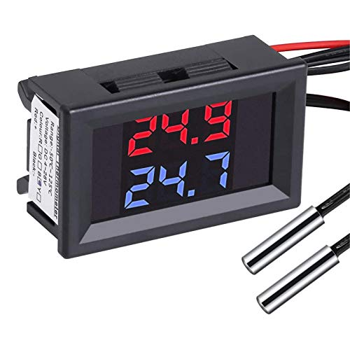 PEMENOL DC4-28V Rot + Blau Dual Display-Digital-Thermometer mit NTC Wasserdichtem Metallfühler-Temperatursensor