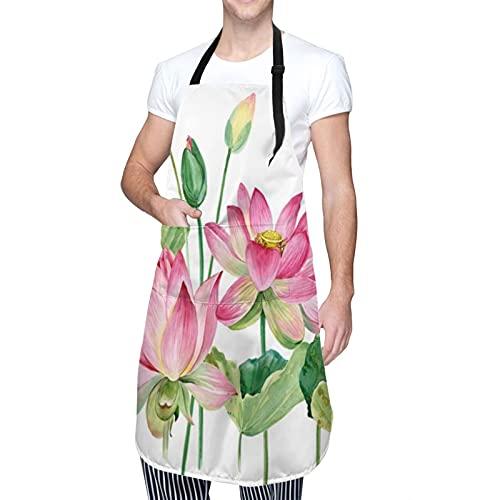 COFEIYISI Tablier de cuisine,Fleur Verte Bordure Rose Aquarelle Nature Botanique Pourpre Spa Flora Exotique Chinois Floral Feuille Lily,Tablier pour Cuisine Restaurant Barbecue Cuisson Jardinage