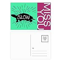 黒いカメの自然動物のシルエット ポストカードセットサンクスカード郵送側20個ミス