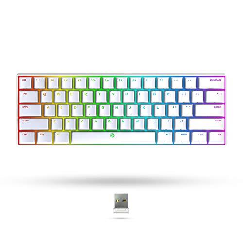 DREVO Seer MAX teclado mecánico Bluetooth 5.1 y 2.4G de 61 teclas, alámbrico e inalámbrico, retroiluminación RGB, compatible con el sistema operativo Windows/Mac,US Layout(Gateron Rojo Switch, Blanco)