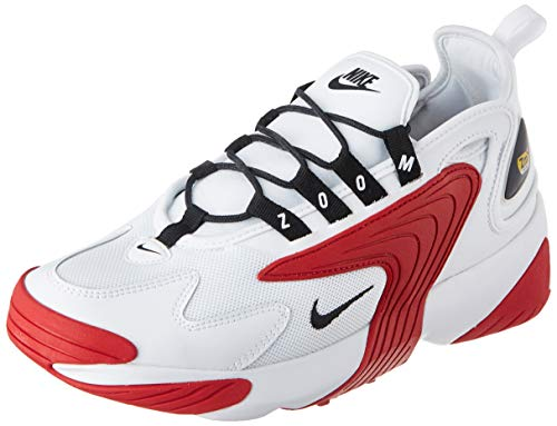 Nike Mens Zoom 2K Running Shoe, White/Black-Gym RED-White, 44 EU
