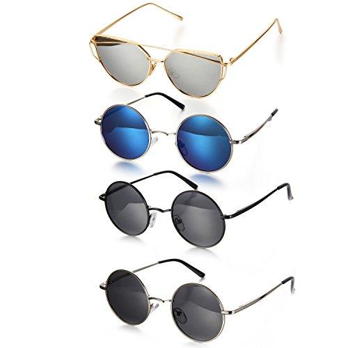 Aroncent Zonnebril voor dames en heren, retro, gepolariseerd, ronde cirkelbescherming, UV400, spiegelende zonnebril, volledige rand, zilver, blauw, zwart