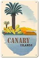 8×12インチメタルスズロゴカナリア諸島ガレージファミリーキッチンバーバーホテル壁飾りロゴ