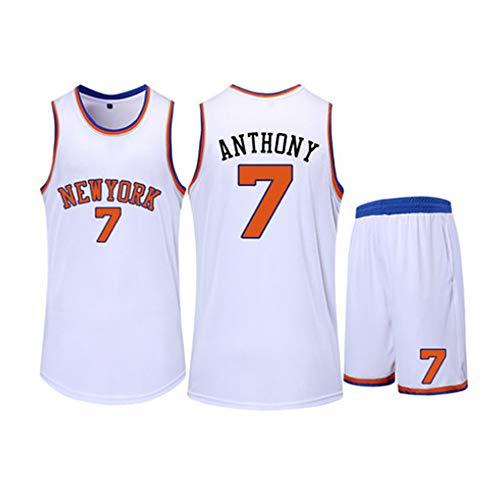 XSJY Unisex Basketball Jerseys Set- NBA New York Knicks # 7 Carmelo Anthony Fan Klassischer Basketball Swingman Jersey Ärmel Top Und Shorts,Weiß,5XL:185~190CM