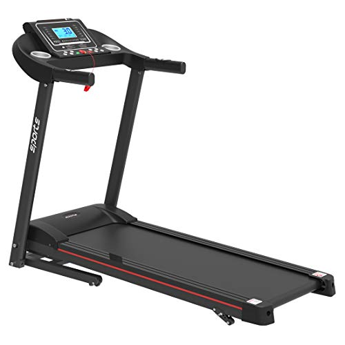 Folding Treadmill, Smart Motorized Treadmill with Manual Incline and Air Spring & MP3, Exercise Running Machine with 5' LCD Display for Home Use