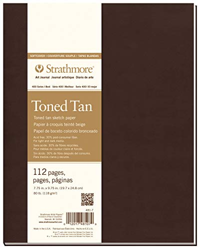 Strathmore 481-7 400 Series Softcover Toned Tan Art Sketch Journal, 7.75'x9.75', 56 Sheets