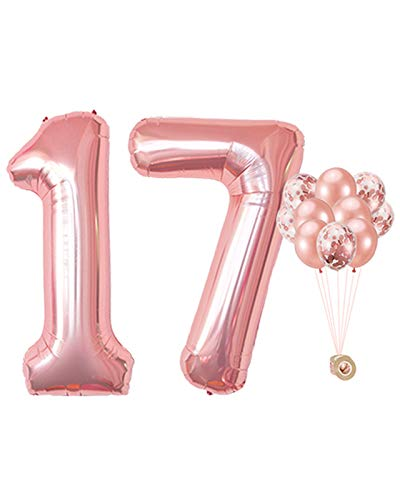 AULE 40 Inch Large 17 Number Balloons Rose Gold, Big Foil Number Balloons, Giant Helium Happy 17th Birthday Party Decorations for Girl, Huge Mylar 71 Anniversary Party Supplies