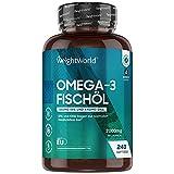 Omega 3 Kapseln - 2000mg Fischöl je Kapsel - 240 Kapseln - 1100mg Omega 3, 660mg EPA & 440mg DHA Fettsäuren pro Portion - Nachhaltig, Rein & Ohne Zusätze - Herzfunktion & Blutdruck - Von WeightWorld