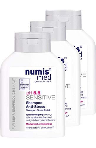 numis med Shampoo Anti-Stress ph 5.5 SENSITIVE - Haarpflege vegan & seifenfrei - Haarshampoo für sensible, feuchtigkeitsarme & zu Allergien neigende Haut im 3er Pack (3x 200 ml)