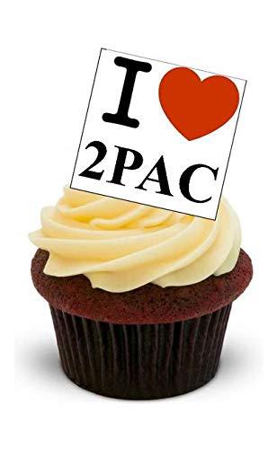 ICH LIEBE 2PAC - 12 essbare hochwertige stehende Waffeln Kuchen Toppers - I LOVE 2PAC