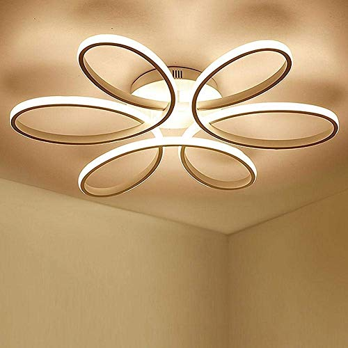 Lighting 93W D74cm-Dimming 3000K-6000K LED Flower Shape Ceiling Light Creative Acrylic Aluminum Lampshade Modern Elegant Matte White Ceiling Lamp Living Room Dining Room Bedroom Ceiling Light Indoor L 4