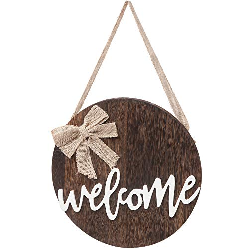 Dahey Hello Sign Rustic Front Door Decor Round Wood Hanging Sign Farmhouse Porch