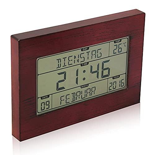 Horloge Réveil Numérique Murale Radiopilotée - Calendrier Date Jour et Heure - Grands Chiffres - 8 Langues - Température Ambiante - Accroche Murale ou sur Pied - 23 x 16 CM - Motif Bois