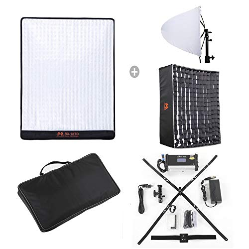 Falcon Eyes RX-18TD Flexible LED Video Panel Light 100W Adjustable 3000K-5600K LED Photo Lighting + Honeycomb Grid Softbox Diffuser