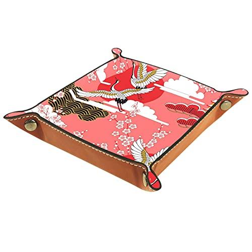 Bandeja del valet del almacenamiento del escritorio, almacenamiento plegable de cuero de la joyería de la bandeja grúas japonesas flor cereza para escritorio, oficina, llave, joyería