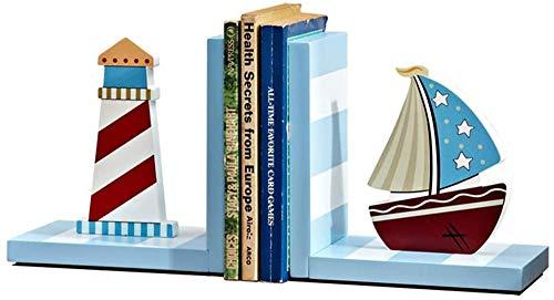 ZKHD Faro Azul Y Limpiabotas para Niños, Tenedores De Madera para Niños, Titular De Archivo De Tapón Decorativo para Estantes De La Biblioteca De Viviendas Oficina