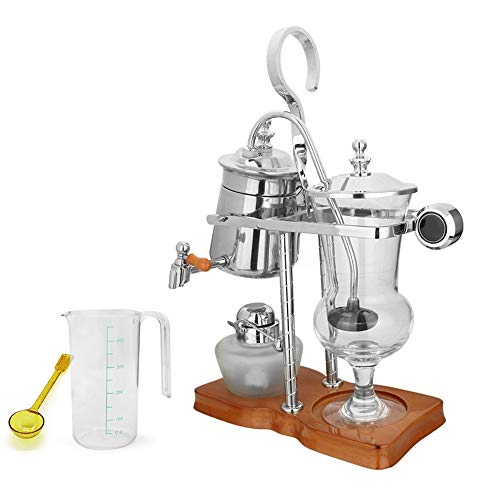 Feixunfan Siphon Kaffeemaschine Haushalt Siphon Kaffeemaschine Handgefertigt Palace Stil Siphon Kanne für Kaffee und Tee, metall, silber, 24x12x37cm