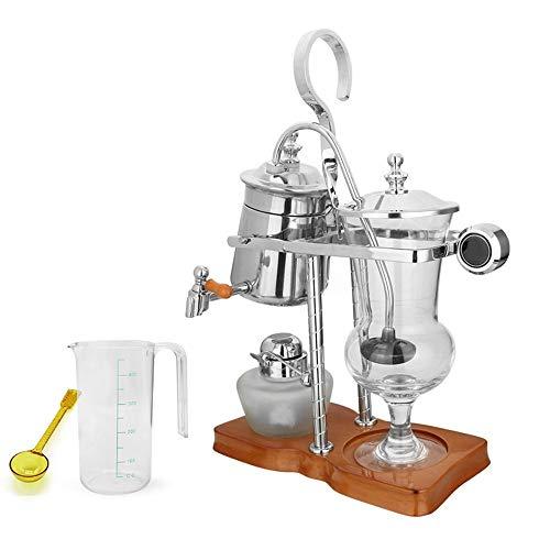 Lpinvin Kaffeesiphon Kaffee Appliance Haushalts Syphon Kaffeemaschine Spirituslampe Handgefertigte Kaffee Syphon Pot Siphon Filter Kaffeemaschine (Farbe : Silver, Size : 24x12x37cm)