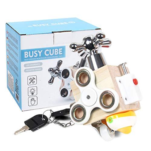 MAGELIYA Cubo de pestillo de Madera refinada, Juguete de Cubo de Actividad educativa, Adecuado para bebés Mayores de 12 Meses