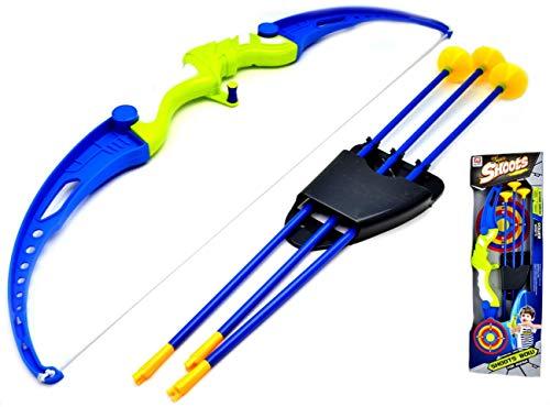 VENTURA TRADING Set de Tiro con Arco para niños Juego al Aire Libre Tiro con Arco más Grande Conjunto de Arco y Flecha con 3 Flechas de Ventosa Set Regalo para niños