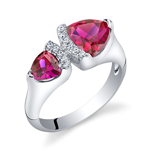 Forever Us Two Stone Created Ruby Sterling Silver Trillion Cut Ring Size 8