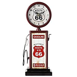 Lily's Home Old Fashioned Route 66 Gas Pump Mantle Clock, Battery Powered with Quartz Movement, Makes an Ideal Gift for Antique Sign Collectors, Brown/Red (13 1/2 x 4 3/4)
